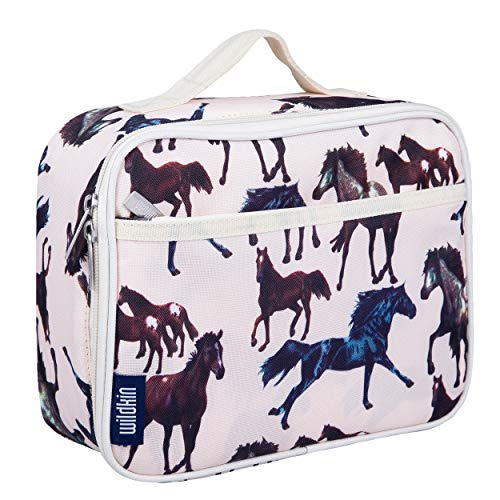 Wildkin Kids Insulated Lunch Box Bag for Boys and Girls, Perfect Size for Packing Hot or Cold Snacks for School and Travel, Mom's Choice Award Winner, BPA-free, Olive Kids (Horse Dreams)