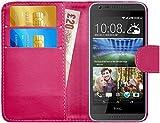 G-Shield Hülle für HTC Desire 620/620g Klapphülle mit Kartenfach - Rosa