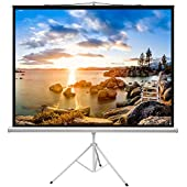 PERLESMITH Projector Screen with Tripod Stand 100 Inch - Height Adjustable Projector Stand 4K 3D HD 4:3 - Portable Projection Screen Indoor, Outdoor, Home Theater, Office, Movies Foldable Stand