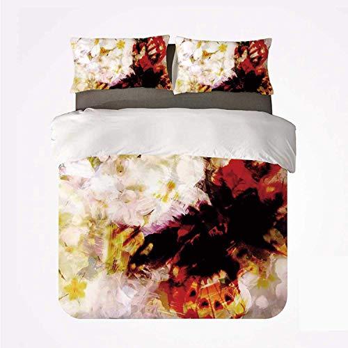 Decoración de Paisley Jardín de flores con orquídeas Rosas Jazmines y mariposas Decoración abstracta ,Juego de ropa de cama con funda nórdica de microfibra y 2 funda de almohada - 220 x 240 cm