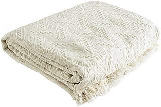 UNIGARDEN Textured Blocks Fringed Natural 2-Layer Throw,Throw Blanket, 51 X 71-Inch (Creamy-White-E, 51