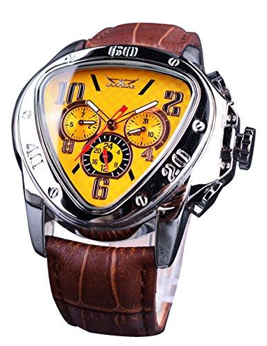 Jaragar Relojes mecánicos del deporte triángulo bisel diseño moda amarillo dial