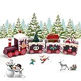 EKKONG Trenino Legno Natalizio Pista Trenino Legno,Treno di Natale in Legno Carino,Mini Trenini ,Decorazioni Natalizie,Festa di Natale del Decorativo (Marrone)