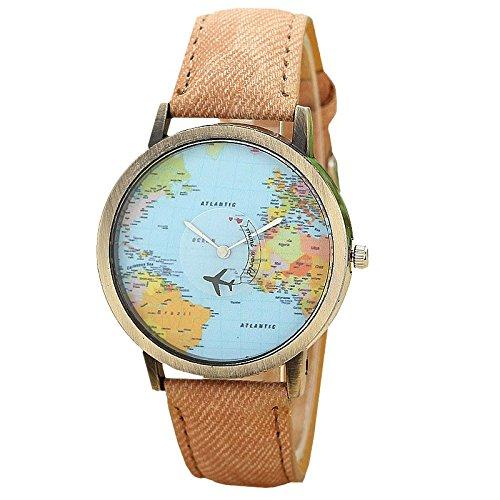 Aineyira Unisex Orologio Mappa del mondo Bracelet Marrone
