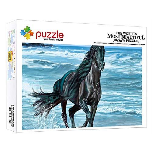 FFGHH Puzzle 1000 Piezas Infantil Caballo Animal Puzzle Madera Puzzle Bebe Rompecabezas para Niños para Adultos Niños Amigo 75Cm X 50Cm