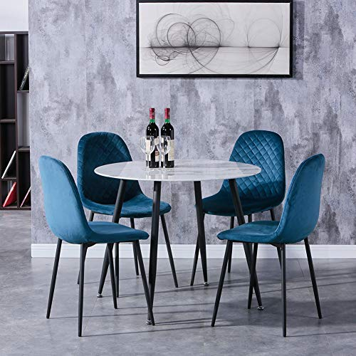 GOLDFAN Marble Dining Table and Chairs Set 4 Round Kitchen Table with 4 Fabric Padded Chairs Dining Table Set,90CM/Blue