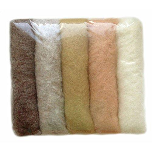 SIA COLLA-S L'ensemble de Nuances de la Laine pour Feutrage, Mix Couleurs Naturel Natural, 5 Couleurs Différentes Minimum, 50g.