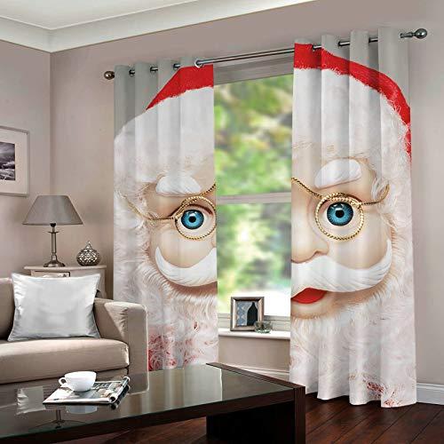 ANAZOZ 2 Cortinas Dormitorio Opaca Cortinas Poliester Habitacion Papá Noel Rojo Blanco Cortinas de Habitacion Tamaño 214x244CM