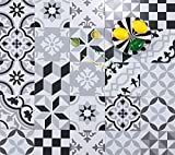Moroccan Mosaic & Tile House Mix Patchwork 8 x 8 Ceramic Tile for Floor/Wall in Black, Grey, and White