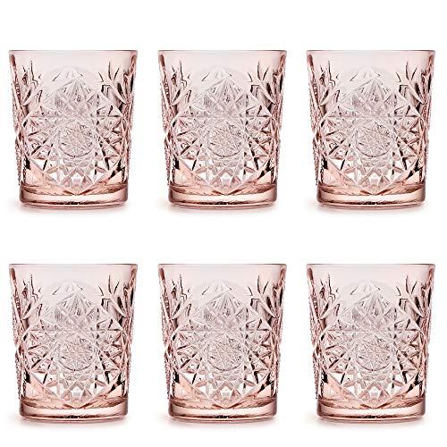 Vaso Hobstar Coral Pink de Libbey / – 355 ml/35,5 cl - 6 unidades – diseño vintage – apto para el lavavajillas
