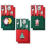 EasyAcc 6Pcs Titulares de vajilla de Plata de Navidad Santa
