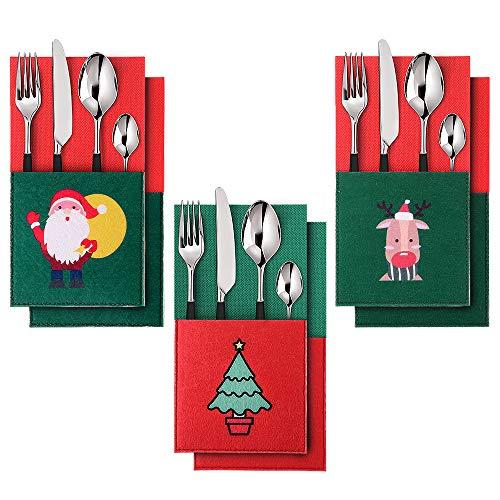 EasyAcc Sac de Vaisselle de Noël,6pcs Porte-Couverts Serviette Couteaux Fourchette Cuillère en Forme de Costume Père Sapin de Noël Santa Elk pour Décoration de Cuisine Table Réveillon Noël