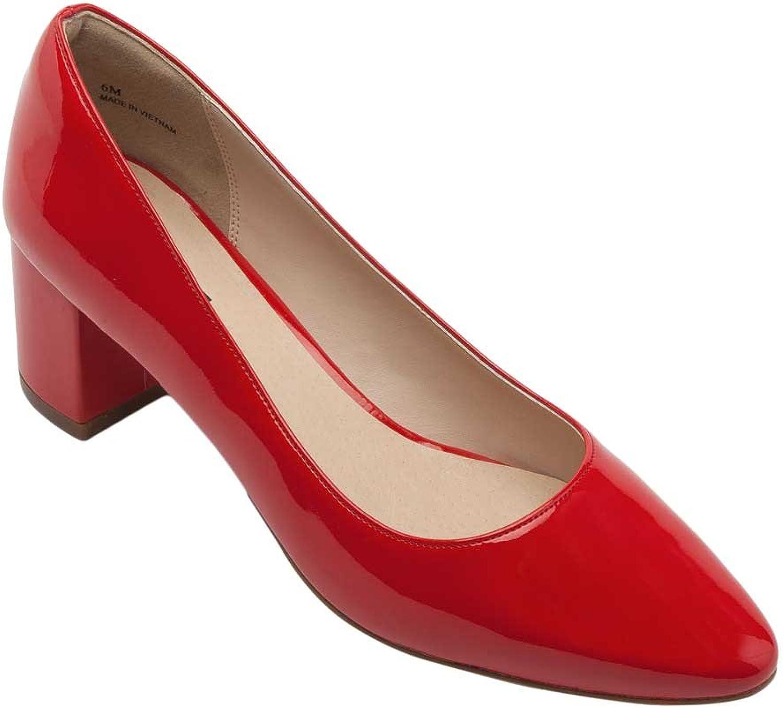 Pic Pay Faye Women's Pumps - Block Heel Pump Red Patent PU 9M