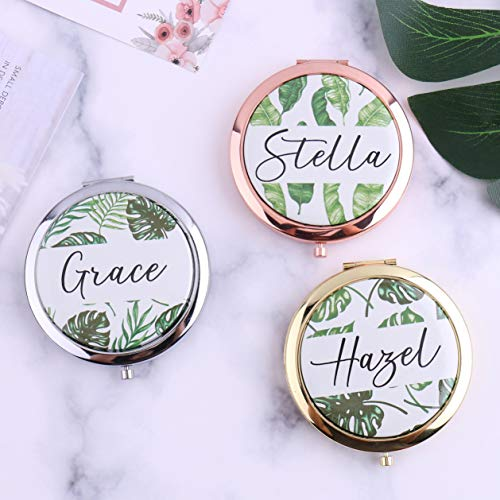Taschenspiegel im tropischen Stil, personalisierbar mit Ihrem Namen Palmenblätter, Sommer-Geburtstagsgeschenk für Ihre Frau oder Jahrestag