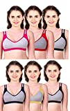Caracal Sports Bra for Women's for Daily Workout Gym Wear Seamless Combo Pack of 3 (Size 44) Free Size