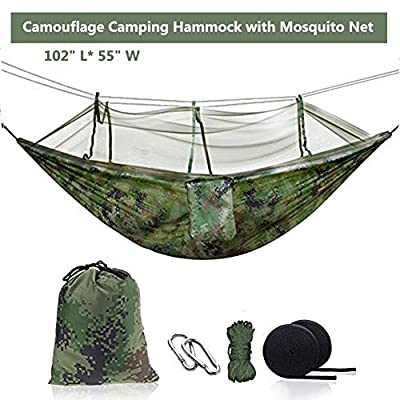 Ufanore Camping Hammock, Lightweight & Nylon Hammock with Tree Straps and Mosquito Net, Portable & 500lbs Hammock for Hiking Backpacking Travel Beach Garden Yard Includes Parachute & Steel Carabiners