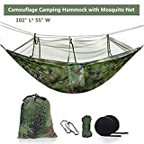 Ufanore Hammock, Lightweight & Nylon Camping Hammock with Tree Straps and net, Portable & 500lbs Hammock for Outdoor Indoor Backpacking Travel Beach Garden Yard (Green with net)