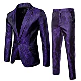 DAY8 Vestito Elegante Uomo Cerimonia per Sposo Matrimonio Affari Festa Completo 2 Pezzi Abito Uomo Cappotto Giacca Blazer + Pantaloni Set Suit Taglie Forti (Viola, XXXL)