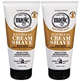 Softsheen-Carson Magic Razorless Shaving Cream for Men, Hair Removal Cream, for Bald Head Maintenance, No Razor Needed, Depilatory Cream Works in 4 Minutes for Coarse Curly Hair, 2 Count
