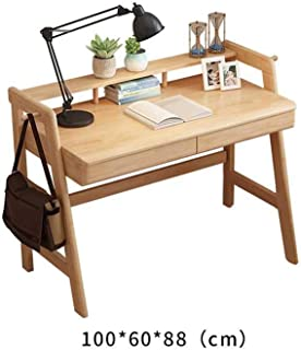 FF Study Desk Simple Solid Wood Student Writing Table Household Nordic Computer Desk Office Desk with Storage Shelf (Color : C, Size : 1206088CM)
