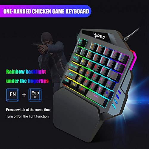 Roebii Gaming Tastatur und Maus Combo Adapter für Xbox One, PS4, PS3, Switch, Windows PC, 35 Tasten Einhandbedienung Blau LED Hintergrundbeleuchtung Mechanische Tastatur Makro Definitionmit