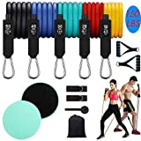 Resistance Bands Set,5 Stackable Exercise Bands with Door Anchor,Stackable Up to 150 lbs.2 Core Sliders ,Perfect Muscle Builder for Arms, Chest, Belly, Glutes ,etc,Yoga Pilates, Home Workout.13PCS