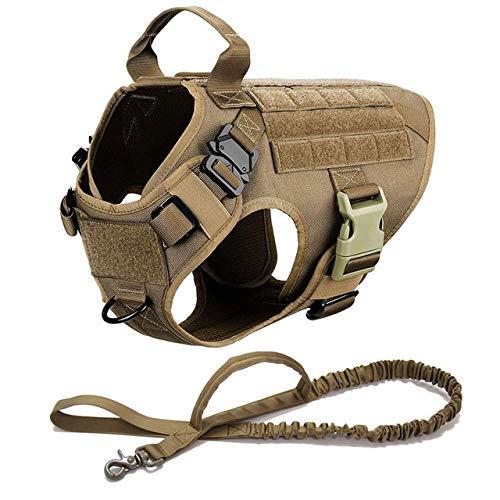 Gemütlich Military Tactical Hundegeschirr und Hundeleine Gehtraining Verstellbare Metallschnalle Thick-Material Weste Haustierzubehör (Color : Brown Set, Größe : Large)