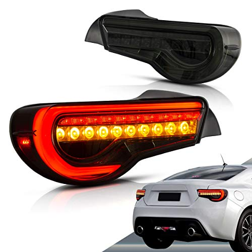 VLAND LED Tail lights Compatible with Scion Fr-s 2013-2016 Toyota86/ Subuaru Brz 2013-2020 with Amber Sequential, Full Led Rear Lamp Assembly Including Passenger& Driver Sides, Smoke/ Tinted
