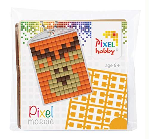 Pixel P23003 Mosaik Medaillon Elch, Schlüsselanhänger für Kinder zum Selbstgestalten, kinderleichtes Stecksystem, ohne Bügeln und Kleben, Steinchen aus Biokunststoff