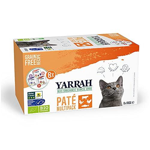 Yarrah multipack cibo umido biologico per gatti di tutte le età I Patè gourmet gusti assortiti, 8 x100gr I 100% biologico, senza cereali e senza additivi artificiali