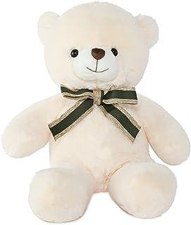 Muiteiur Teddy Bear Cute Stuffed Animal with Necktie Soft Plush Toy Gift for Girlfriend or Kids 11.8inch, White