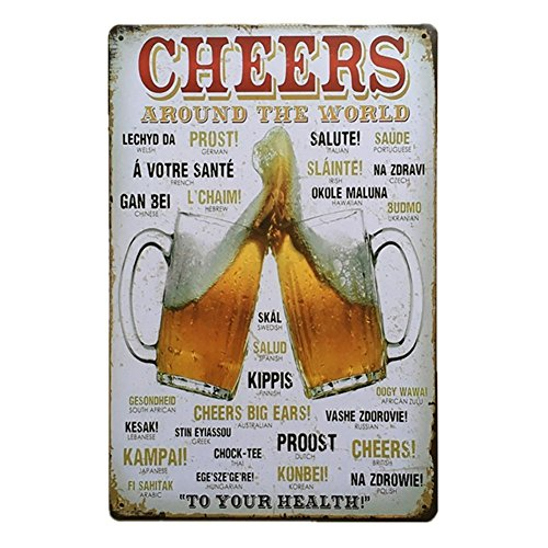 Hioni Cheers Around The World Vintage Blechschild Poster Wandschild Wand Dekoration Metallschild Türschild