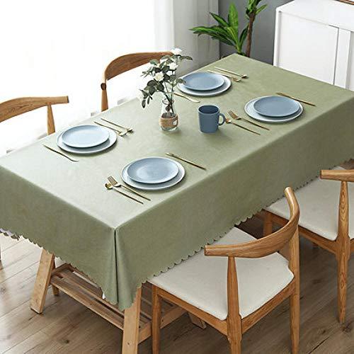 Traann plastic tafelkleed schoonmaken doekjes, vierkant wipe clean, vinyl/kunststof tafelkleed effen linnen textuur groen 110*160