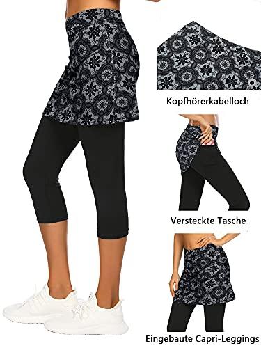 Balancora Falda de deporte para mujer, falda de tenis, hockey, ajustada, 3/4, pantalones de yoga con bolsillos y conexión para auriculares, Patrón 1., XL