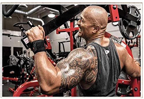 Póster de gimnasio The Rock Dwayne Johnson Workout Fitness Pinturas en lienzo Culturismo Imagen de músculos Arte de pared inspirador Decoración de gimnasio en casa 40x60cm Sin marco ✅
