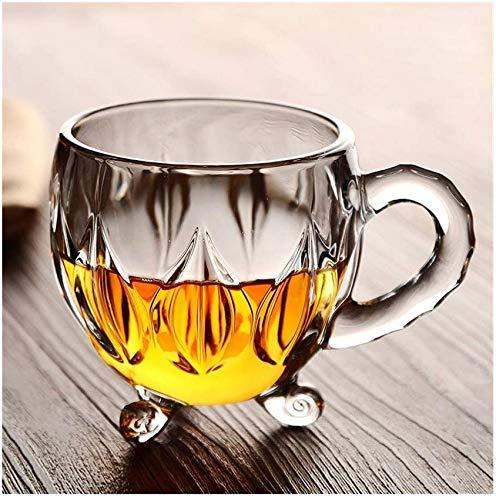 WQF Verres à vin 210 ML Verre en Cristal Thé Café Tasse à Eau Tasse Transparente Maison Fleur de Lait Jus de thé Verres Tasses Tasse avec poignée (Capacité: 210 ML, Couleur: Clair)