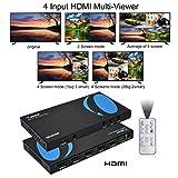 Orei PS4 / PC/Stbの/DVD /セキュリティカメラ用クワッドマルチビューワ4X1 HDMIスイッチャー4つのポートのシームレスな切り替えとIRリモートサポート1080P