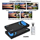 HDMI Multi-Viewer 4x1 Seamless HDMI Switch by OREI - 4 Ports, IR Remote, RS-232 Control, Supports up to 1080p, Security Camera, HDMI Switch 4 in 1 Out (HD-401MR)