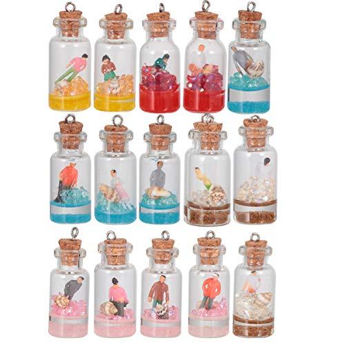 EXCEART 20 Piezas Botellas Deseadas Encantos Muñeca Frascos de Vidrio Colgante Verano Mini Botella a La Deriva Llavero Encantos Diy Fabricación de Joyas (Estilo Variado)
