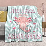 Axolotl Blanket Gift for Girls Women Lightweight Throws-Just A Girl Who Loves Axolotls Plush Cute Animals Fish Decor Kids Quilt Kawaii Soft Flannel Blankets for Couch Bed Chair-50'x40' for Toddler