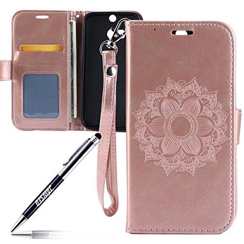 Kompatibel mit HTC ONE M8 Hülle,HTC ONE M8 Tasche,JAWSEU Lederhülle für HTC ONE M8 Handyhülle Wallet Case Flip Hülle Brieftasche,Mandala Blumen Muster PU Leder Tasche Flip Case Rose Gold