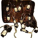 AceList 20 LED Black Lantern Mini Kerosene String Lights for Patio Garden Holiday Home Ramadan Decorations (Warm White Light)