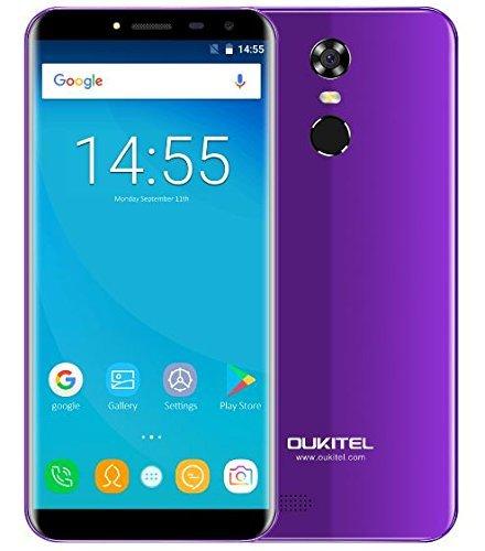 OUKITEL C8 4G - 5.5 pollici (rapporto 18: 9 visione completa) smartphone Android 7.0 4G, batteria 3000mAh, quad core da 1.3GHz MTK6737 2GB +16GB, Fotocamera da 5MP + 13MP, impronte digitali - Viola