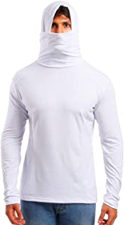 Men's Plain Hooded Sweatshirts with Mask Long Sleeve Solid Soft Casual Hoodies Pullover by URIBAKE