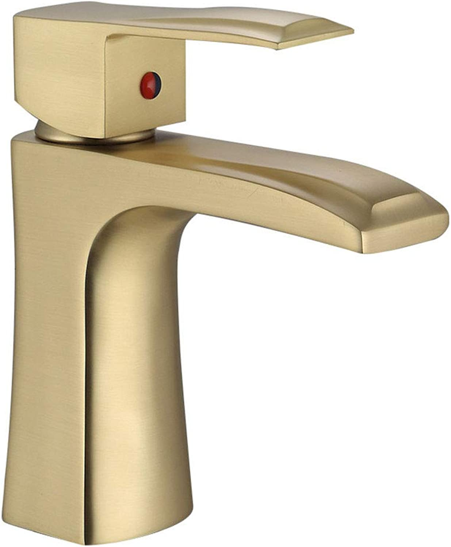 Badezimmerschrank Wasserhahn Waschbecken Wasserhahn heies und kaltes Wasser Einstellung Kupfer Gold, Gold-A