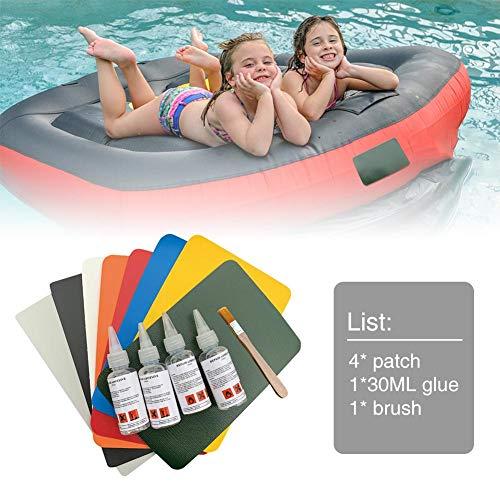 Chen0-super Schlauchboot Reparatur Patch Kleber Kit, Boot Reparatur Kit mit PVC Patches Set Zubehör für Schlauchboot Kajak