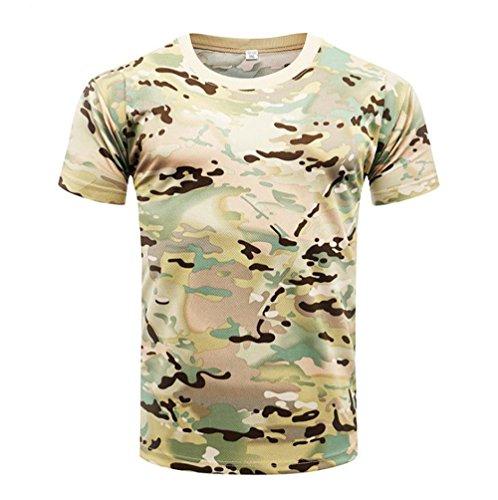 YuanDian Homme Camo Armée Extérieure Tactique T-Shirt Engrener Militaire Manches Courtes Séchage Rapide Camouflage Randonnée Haut Chemise CP M