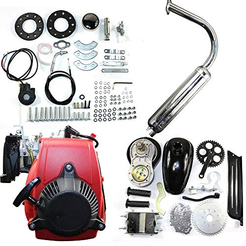 49CC 4-Stroke Gas Petrol Motorized Bike DIY Engine Motor Kit Scooter with Chain Drive Bicycle Scooter Conversion kit (with belt)