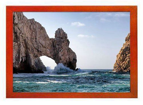 PUPBEAMO Waves splashing in El Arco de Cabo San Lucas Beach - #52497 -Art Print Picture Frame Photo Frames Made of Solid Wood For Table Top (Walnut,9x7 Inches)