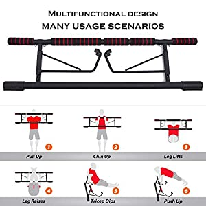 Lipo Pull Up Bar for Doorway, Home Workout Equipment No Screw Pullup Bars Heavy Duty Chin Up Bar with Smart Hook, Upper Body Workout Bar Home Trainer(No Assembly Required)